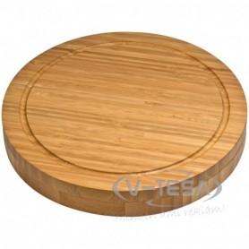 Bambuszból készült sajt szett, vágódeszkával, kétféle sajtvágóval és sajt villával